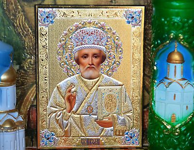St.Nicholas Wonderworker  Russian icon - Silver Gold stamping