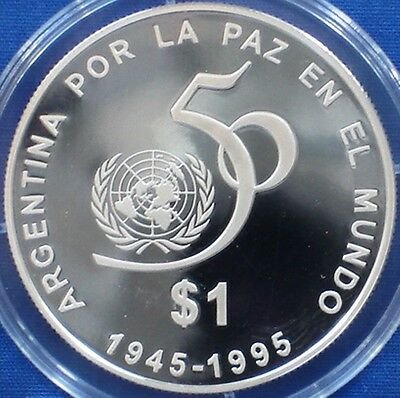 Argentina 1 pesos silver proof 1995 United Nations 50th Anniversary - Rare Coin!