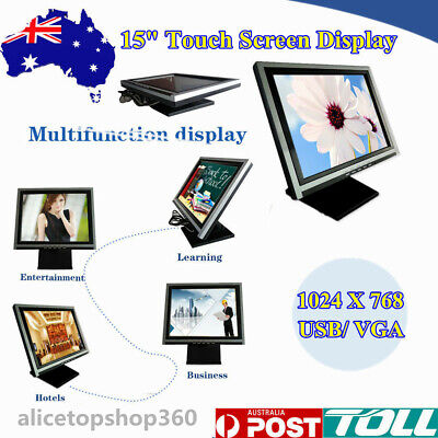 """15"""" Touch Screen USB VGA TFT LCD Stand Monitor POS Restaurant Cafe Market Kiosk"""