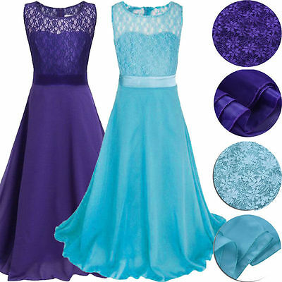 Lace Flower Girls Dress Kids Baby Princess Party Wedding Formal Bridesmaid Gown
