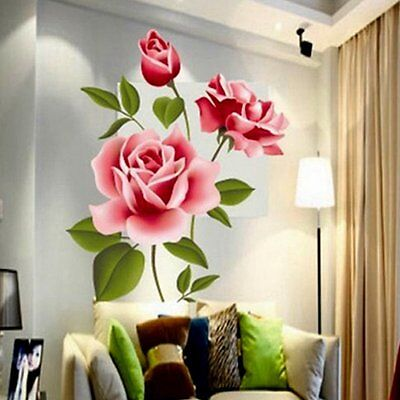 New Rose Flower Wall Stickers Removable Decal Home Decor DIY Art Decoration LO
