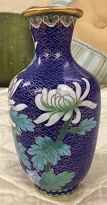 Chinese Cloisonne Cobalt Blue Enamel White Flowers Stunning Antique Vase 8""