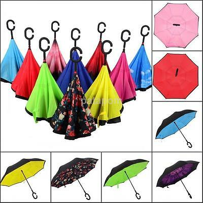 HOT Creative Design Upside Down Double Layer Inverted Umbrella Reverse Windproof