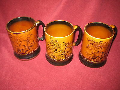 "THREE Staffordshire Arthur Wood Tankards ""Ye old Coaching and Hunting Days""c1935"