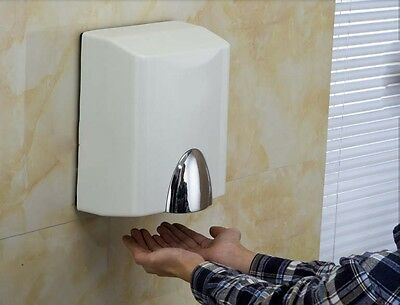 White Plastic Wall Mounted Automatic Induction Quick Drying Hand Dryer Machine #