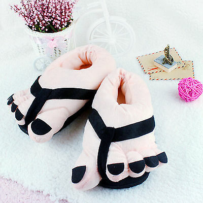 Lovely Winter Indoor Toe Big Feet Warm Soft Plush Slippers Gift Adult Shoes