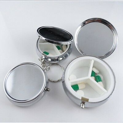 Silver Divide Storage Metal Round Pill Organiser Boxes Container Medicine Cases