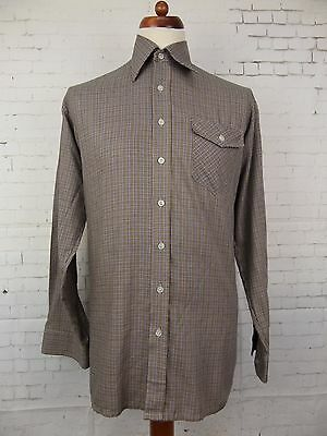 Vintage 1980s Micro Check L-Sleeve Casual Shirt by Kings Road -L- CA70