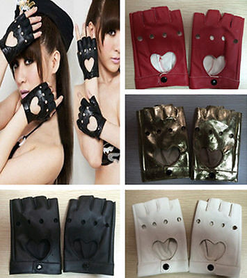 1 Pair Women Leather Driving Fingerless Mittens Dance Punk Motorcycle Gloves