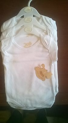 Cotton Bodysuits Longsleeved Vests 3 Pack. Newborn, 0-3, 3-6 Months Unisex.
