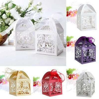 50 PCS New Wedding Party Laser Cut With Ribbon Love Bird Favor Candy Gift Boxes