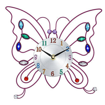 Pretty Pink Butterfly Clock For Kids Bedroom Wall Mounted Children Girls Nursery
