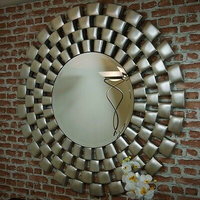 RV Astley Laviana Large Contemporary Silver leaf Round Wall Hanging Mirror