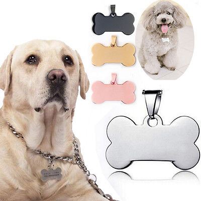 New Stainless Steel Metal Dog  Puppy Tag Pet Cat Name ID Big/Small Bone Tag