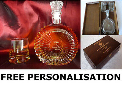 Personalised Engraved Wedding Gift Set: Glass Decanter, Wooden Box & 2 Glasses !