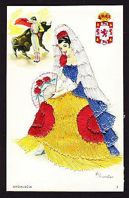 Spain Espana Girl Andalacia Embroidered silk skirt dress lady postcard fan Art