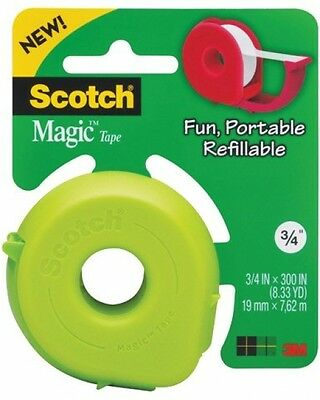 Scotch Dispenser with Magic Tape, 3/4 x 300 Inches, 1-Roll, Colors May Vary