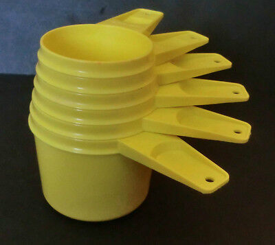 Vintage Tupperware Bright Yellow Measuring Cups Complete 6 Piece Set EUC