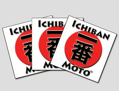 Three Ichiban Moto collectable Cafe Racer motorcycle vinyl stickers