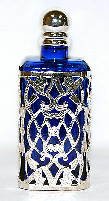 Vintage Scent Refilable Silver Cut Design Blue Glass Crystal Perfume Bottle Gift
