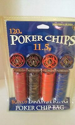 Professional Players 120 Count Poker Chips New In Sealed Package