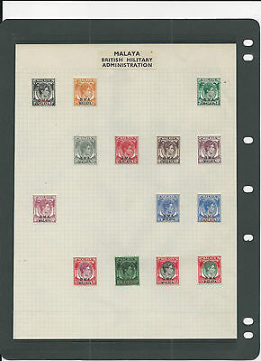 Trade Price Stamps Malaya British Military Administration On Album Page Mint