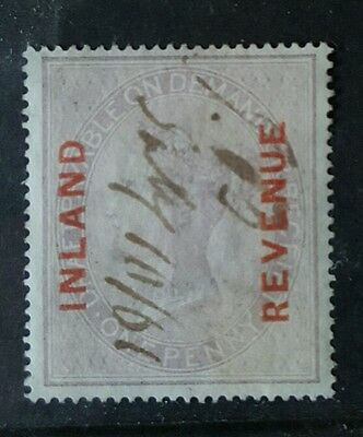 1860 QV 1d FISCAL OVPT 'INLAND REVENUE' IN RED INK CANCEL SG/F8
