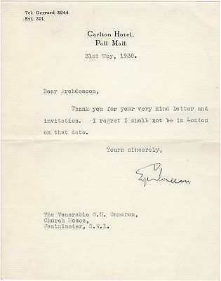 Edgar Wallace – rare signed letter