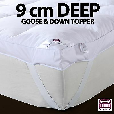 9CM 100% GOOSE FEATHER & DOWN MATTRESS TOPPER ENHANCER EXTRA DEEP 9cm TOPPER