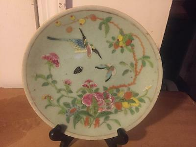 Late 19th.c Vintage Chinese Porcelain Butterfly Bird Berries Green Celadon Plate