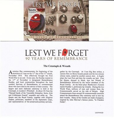 British Indian Ocean Territory Lest We Forget 90 Years of Remembrance Mint Sheet