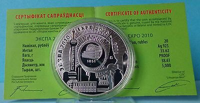 Belarus Weißrussland 20 Rubles 2010 EXPO 2010 Silver Proof Silber PP