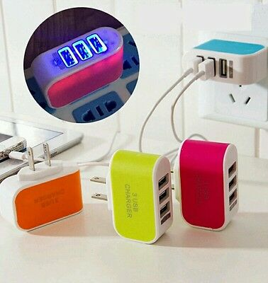 Lot:3pcs:5V 3.1A Triple USB 3 Port Wall USB Charger Adapter for iPhone Samsung
