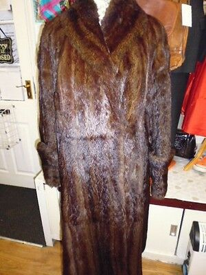 Vintage 30's Thick Real Magonany French Coney Or Mushquash  Fur Coat Size Large