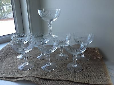 8 Vintage Fostoria Holly Clear Crystal Glass Champagne Sherbet Nice