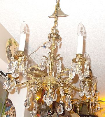 Antique Brass 5 Arm Crystal Prism Chandelier from Bay Area Architectural Salvage