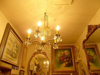 Antique Brass 4 Arm Crystal Chandelier From Bay Area Architectural Salvage #1