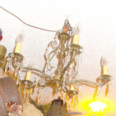 Antique Brass 4 Arm Crystal Chandelier From Bay Area Architectural Salvage #2