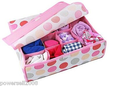 New Pink Circle 16 Grid Small Pieces Of Underwear Covered Storage Box 6 PCS
