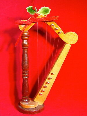 VINTAGE Wooden Floor Harp Ornament 1986 - From Estate - Good Condition