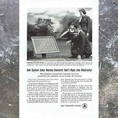 Vintage 1956 Bell System Solar Panel Battery Original 50s Science Paper Print Ad
