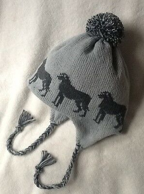 IRISH WOLFHOUND dog NEW knitted lined GREY ADULT SIZE TRAPPER EAR FLAP HAT