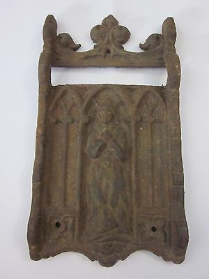 Antique Ornate Cast Iron Wall Plate Door Knocker Part? Architectural Salvage NR