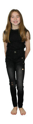 Girls Childrens Kids Sequin Patch Skinny Slim Stretch Jeans Black Blue Sandblast