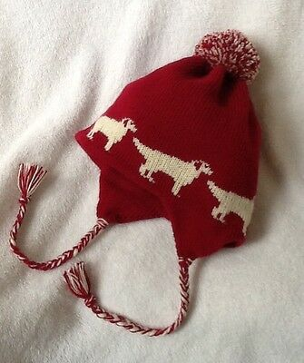 GOLDEN RETRIEVER dog NEW knitted lined RASPBERRY ADULT SIZE TRAPPER EAR FLAP HAT