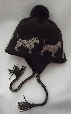 BORDER TERRIER dog NEW knitted lined DARK BROWN ADULT SIZE TRAPPER EAR FLAP HAT