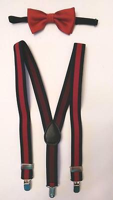"""Baby/Toddler/Young Boy's Holiday Red Ribbed Bow Tie/25"""" L Striped Suspenders Set"""