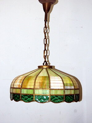 Antique 1930s Stained Glass Hanging Light Fixture, Vintage Lighting, Rewired