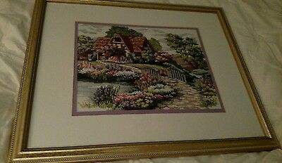Completed Finished Cross Stitch picture COTTAGE, FLOWERS ,BRIDGE