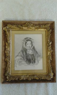 Antique Print of a Charcoal Portrait of a Victorian Lady.